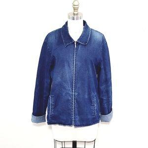 Eileen Fisher // Distressed Denim Zipper Jacket